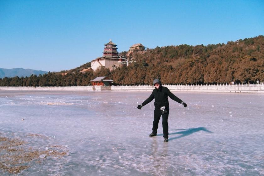 na zamarzniętym jeziorze Kunming