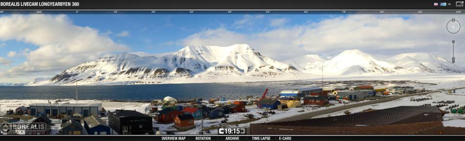 zrzut z kamery 360 z Longyearbyen