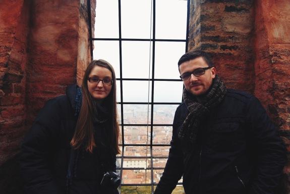 na szczycie Torre degli Asinelli