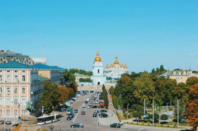 Sobór Mądrości Bożej w Kijowie - widok z dzwonnicy na sobór św. Michała Archanioła